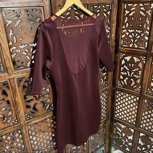 Aubergine coloured dress with net